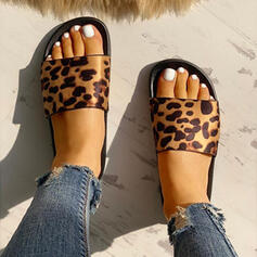 Női PU Lapos sarok Szandál Peep Toe Papucs -Val Animal Print cipő