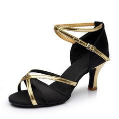 Kvinder Latin Hæle sandaler Satin med Spænde Udhul Latin
