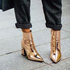 Femmes Cuir verni Talon bottier Escarpins Bout fermé Bottines avec Zip chaussures