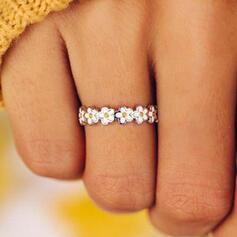 Sorte Liga com Padrão floral Mulheres Anéis