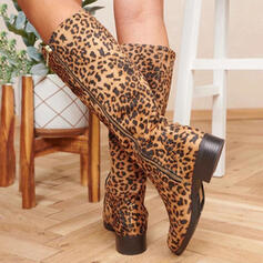 Women's Suede Chunky Heel Knee High Boots Round Toe With Animal Print Zipper shoes