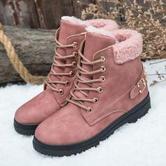 Pentru Femei PU Toc jos Botine Cizme de Iarnă Deget rotund Cizme de iarna cu Cataramă Lace-up pantofi
