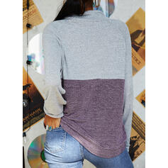 Color Block High Neck Long Sleeves Sweatshirt