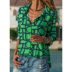 Model Geometric Rever Mâneci Lungi Cu nasturi Cămaşă Tip Bluză