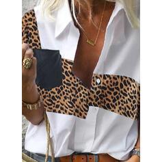 Leopardo Lapela Manga Comprida De Botão Casual Blusas-camiseiros
