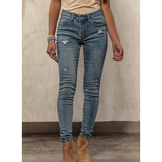 Shirred Ripped Sexy Skinny Denim & Jeans