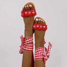 Плоский каблук Сандалии Квартиры Peep Toe с Имитация жемчуга Выдолбить Повязка обувь