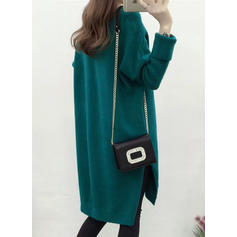 Jednolity Dekolt w kształcie litery V Casual Długie Luźne Sukienka sweterkowa