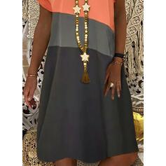 Color-block Krátké rukávy Splývavé Délka ke kolenům Neformální Tričko Šaty