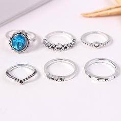 Divatos Ötvözet strassz -Val Hegyikristály Női Gyűrűk (6-os készlet)