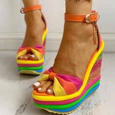 Femmes Toile Talon compensé Sandales À bout ouvert avec Boucle Couleur d'épissure chaussures