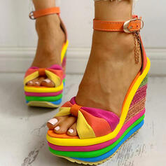 Frauen Leinwand Keil Absatz Sandalen Peep Toe mit Schnalle Spleißfarbe Schuhe