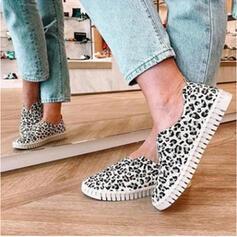 Frauen PU Flascher Absatz Flache Schuhe mit Spleißfarbe Schuhe