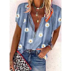 Распечатать Цветочный V шеи С коротким рукавом Повседневная Блузы