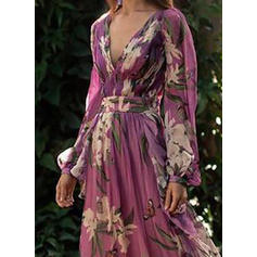 Imprimeu/Floral Mâneci Lungi Tip A-line Patenci Elegant Maxi Elbiseler