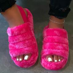 Женский Танкетка Сандалии Квартиры Peep Toe с Искусственный мех Сплошной цвет обувь