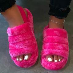Frauen Keil Absatz Sandalen Flache Schuhe Peep Toe mit Pelz Einfarbig Schuhe