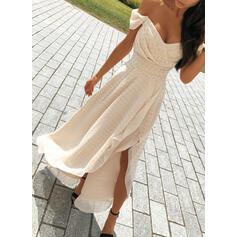 PolkaDot Short Sleeves A-line Asymmetrical Sexy/Party Dresses