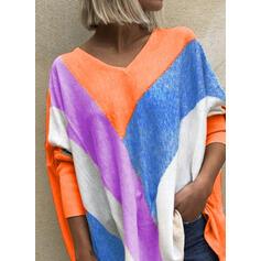 Цветной блок V шеи Длинные рукова Повседневная Блузы