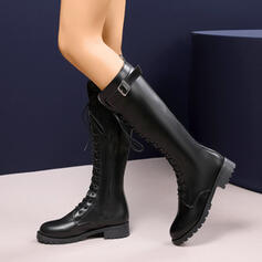 Women's Leatherette Chunky Heel Ankle Boots Round Toe With Zipper Lace-up Tassel Solid Color shoes
