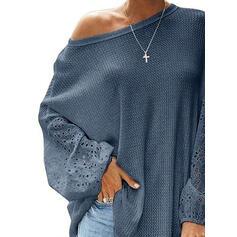 твердый Шею Длинные рукова Повседневная элегантный Вязание Блузы