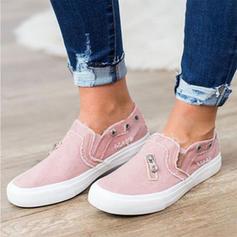 Frauen Stoff Flascher Absatz Flache Schuhe mit Reißverschluss Schuhe