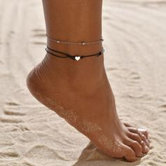 Simple Alloy Leather Rope With Heart Beach Jewelry Anklets (Set of 2)