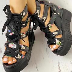 PU Танкетка Сандалии Платформа клинья Peep Toe с пряжка Цветок Крест-накрест обувь