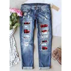 Patchwork Plaid Plus Size Ripped Casual Vintage Denim & Jeans