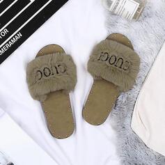 Női Szövet Lapos sarok Papucs -Val Szegecs Szőrme cipő