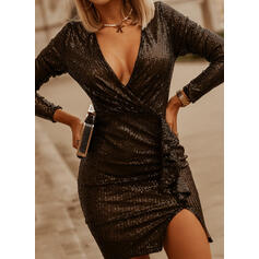 Sequins/Solid Long Sleeves Sheath Above Knee Little Black/Party/Elegant Wrap Dresses