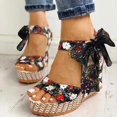 Mulheres Pano Plataforma Sandálias Peep toe com Bowknot Aplicação de renda sapatos