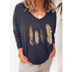 Trykk V-hals Lange ermer Casual Strikking T-skjorter