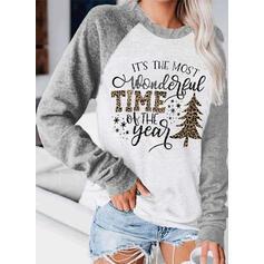Print Color Block Leopard Figure Round Neck Long Sleeves Christmas Sweatshirt