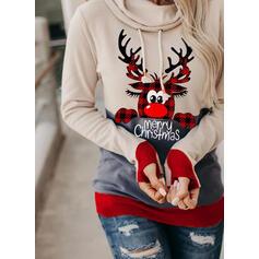 Animal Print Grid Figure Long Sleeves Christmas Sweatshirt