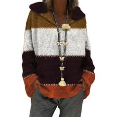 Färg block Klumpig stickning Hooded Casual Tröjor