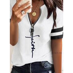 Распечатать Letter V шеи С коротким рукавом Повседневная Вязание Блузы