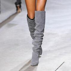 Чоботи вище коліна Вказівний носок Зимові черевики з Суцільний колір взуття