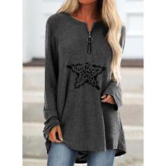 Print Leopard V-Neck Long Sleeves Sweatshirt