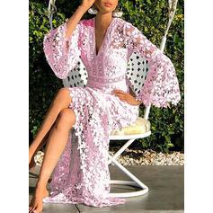 Koronka/Jednolita Długie rękawy/Rozkloszowane rękawy W kształcie litery A Łyżwiaż Elegancki Midi Sukienki