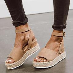 Bayanlar Süet Sivri topuk Sandalet platform Takozlar Peep Toe Arkası açık iskarpin Ile Toka Katı Renk ayakkabı
