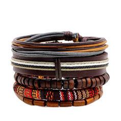Único Romántico Aleación Cuerda trenzada Perlas PU De mujer Señoras' Unisex Muchacha Pulseras Bracelets De Charme Bracelets Bolo 5 PCS