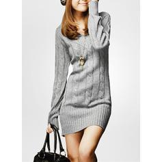 Sólido Manga Comprida Shift Comprimento do joelho Casual Suéter Vestidos
