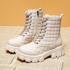 Bayanlar suni deri Düz topuk platform bot ayakkabı Martin Çizmeleri Yuvarlak ayak Ile Fermuar Bağcıklı ayakkabı Katı Renk ayakkabı