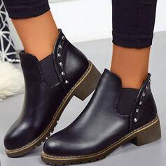 Bayanlar PU Tıknaz Topuk Ayak bileği çizmeler Yuvarlak ayak Chelsea Çizmeler Ile Katı Renk ayakkabı