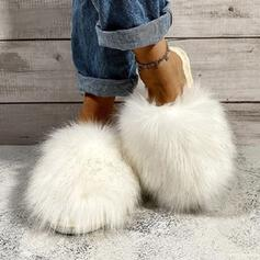 Women's Fake fur Flat Heel Sandals Flats Slippers Round Toe With Faux-Fur shoes