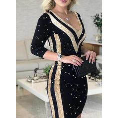 Sequins Long Sleeves Bodycon Above Knee Elegant Dresses
