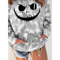 Print Tie Dye Halloween Long Sleeves Hoodie