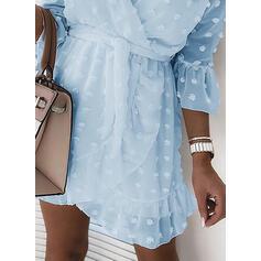 Solid 3/4 Sleeves Sheath Above Knee Casual/Elegant Dresses