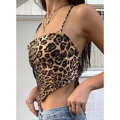 без спинки леопард Спагетти Ремень безрукавный Майки